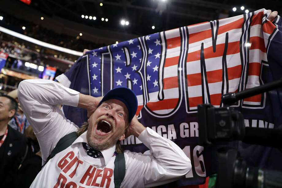 California delegate Jake Byrd celebrates on the convention floor at Cleveland's Quicken Loans Arena on the night Donald Trump was formally nominated as the Republican Party's presidential nominee. Photo: John Locher, Associated Press