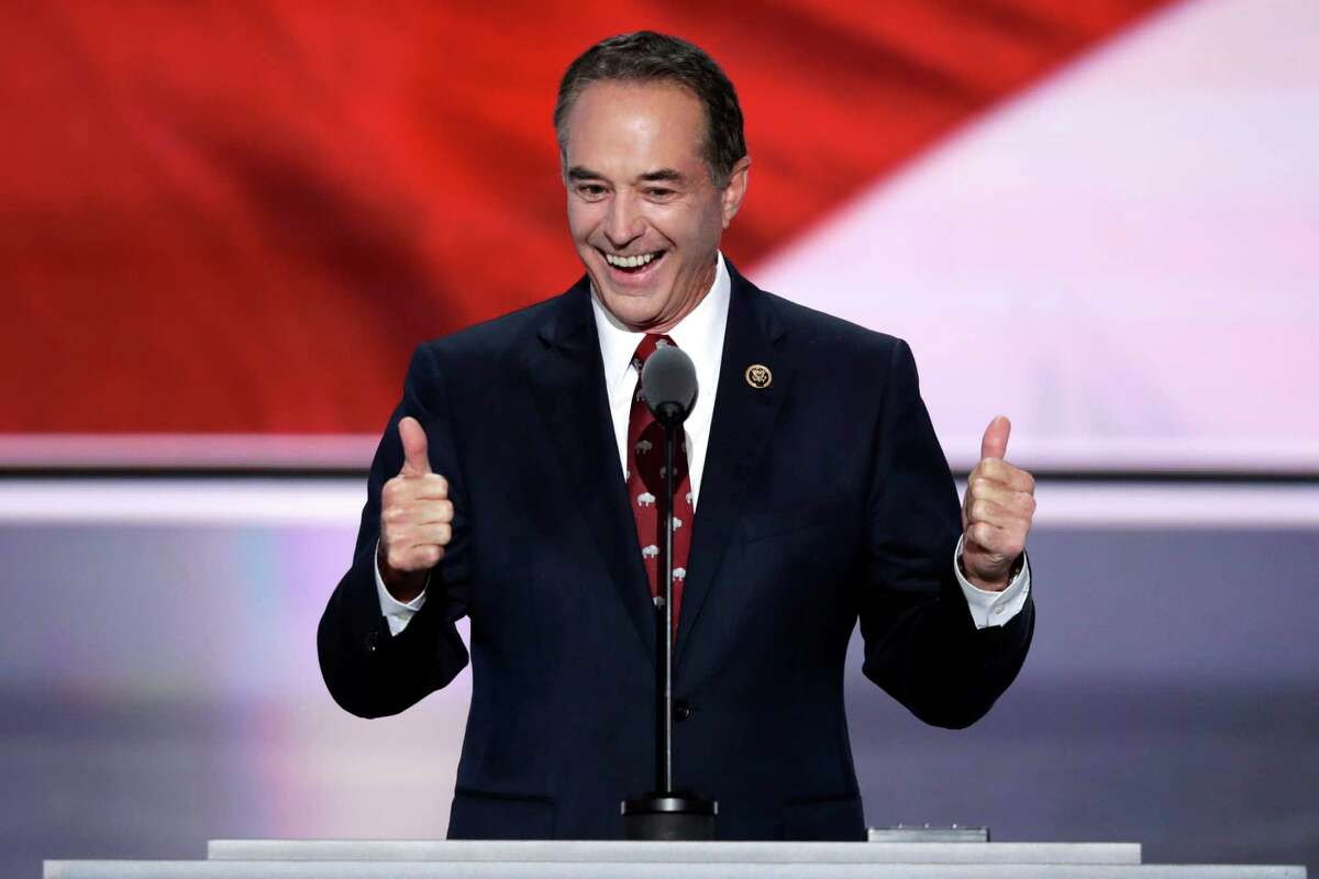 Rep. Chris Collins, R-NY., nominates Donald Trump as the Republican candidate for President during the second day of the Republican National Convention in Cleveland, Tuesday, July 19, 2016. (AP Photo/J. Scott Applewhite) ORG XMIT: RNC119