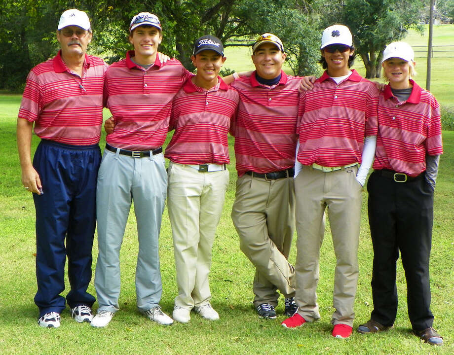 The Plainview golf team finished third at the Hereford Invitational Friday and Saturday. Members of the team are (from left) Coach Mike Lewis, Ryan Edwards, Isaiah Garcia, Troy Velasquez, Ryan Castillo and Trey Gregory. Castillo finished fifth individually with a score of 114. Photo: Courtesy Photo By Betsy Lewis