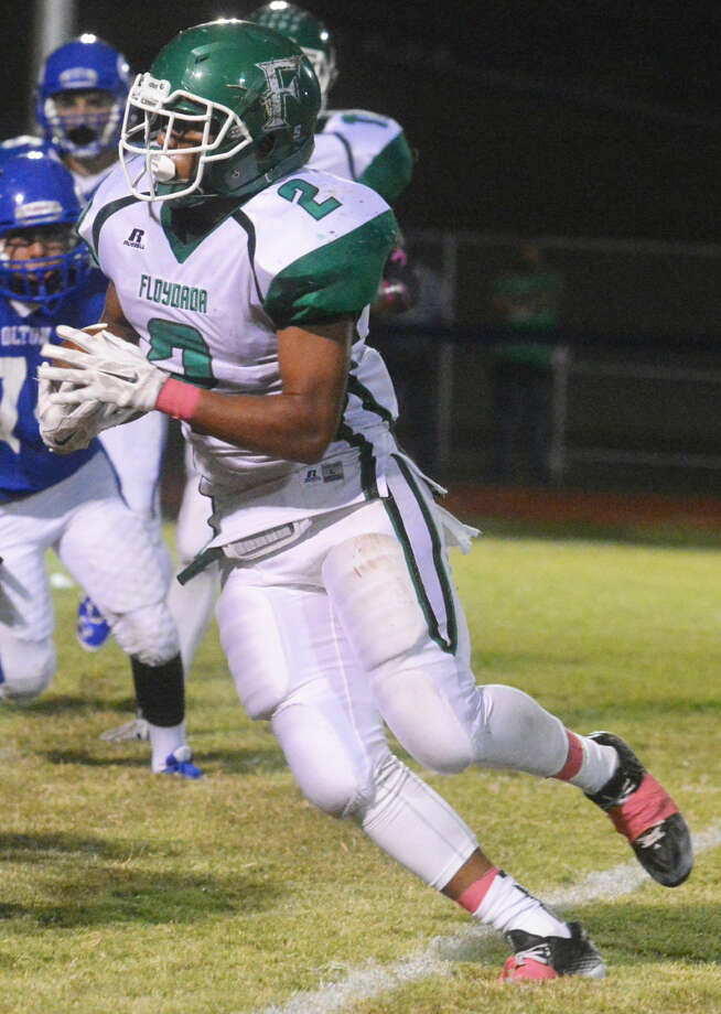 Floydada running back Corey Mathis scored six touchdowns Friday night as the Whirlwinds rolled over Tahoka 58-7 for their second District 2-2A win without a loss. Photo: Skip Leon/Plainview Herald