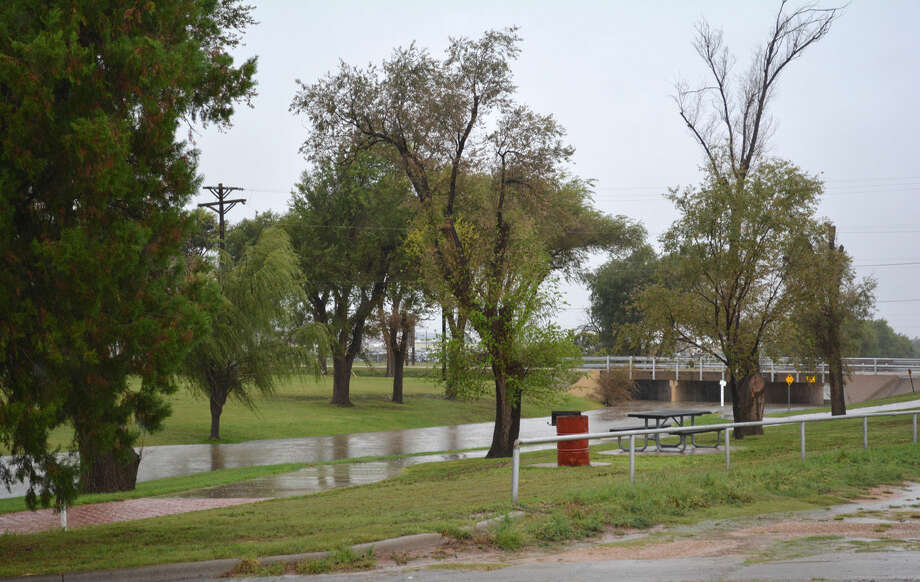 There was not traffic on Plainview's Hike and Bike Trail Thursday, Sept. 18, due to heavy rain. Low water crossings in Broadway Park were closed to traffic as well.
