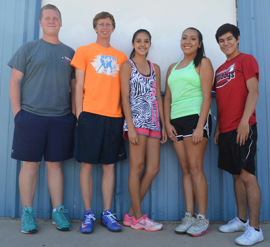 Senior tennis players, from left, Jeremy Bowen, Travis Reid, Kayla Campos, Giselle Medina and Roman Perez will lead the Plainview netters into the playoffs for the second consecutive season. The Bulldogs will take on Randall in the area round at 9 a.m. Wednesday in Lubbock. Photo: Skip Leon/Plainview Herald