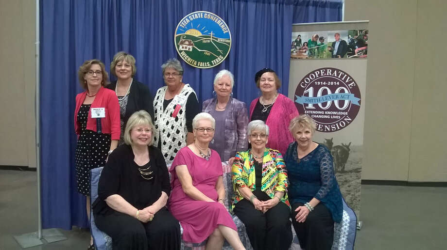 Several women represented Hale County AgriLife Extension at the 2014 State Texas Extension Education Association Conference last week in Wichita Falls. Shown are Donnet Evans (standing, left), Deana Sageser, Martha Todd, Ann Reilly, Nelda VanHoose, Susie Starnes (seated, left), Carol Williamson, Kaylene Layton and Gena Doyle. Photo: Courtesy Photo