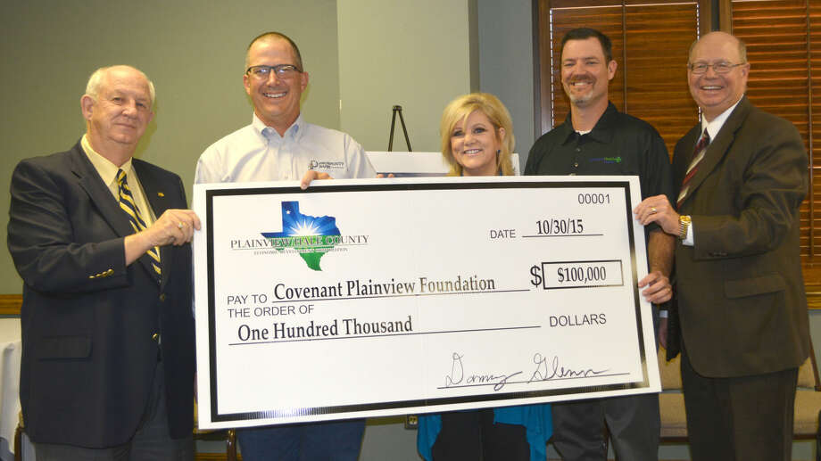 In recognition that a strong hospital is vital for industrial recruiting, Plainview-Hale County Economic Development Corp. at its quarterly board meeting Friday pledged $100,000 to the $40 million Covenant Health Plainview renovation and expansion. On hand for a ceremonial check presentation are David Wilder, left, drive chairman; David Glenn, PHCEDC president; Carol Terrell, Covenant Plainview Foundation coordinator; Clay Taylor, Covenant Plainview CEO; and Mike Fox, PHCEDC executive director.