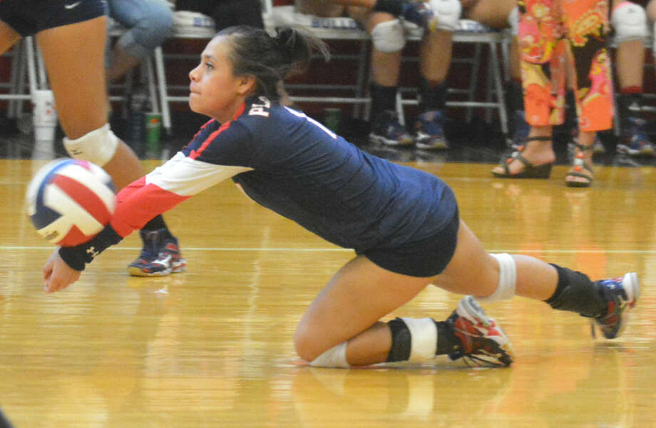 Plainview's Kim Balderas dives to return a shot against Dimmitt in a volleyball match earlier this week. The Lady Bulldogs open their District 4-5A campaign Friday at home against San Angelo Lakie View. Photo: Skip Leon/Plainview Herald