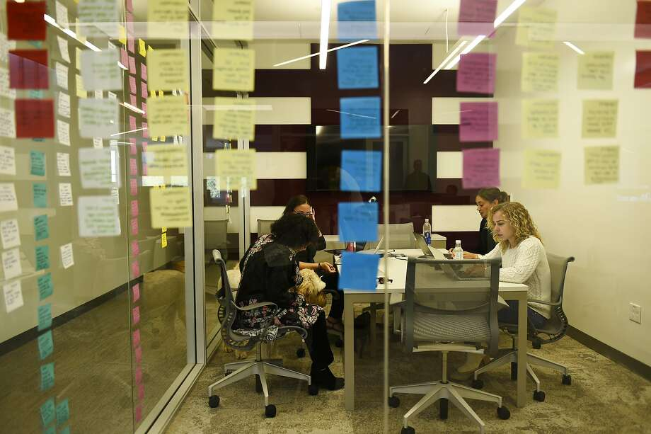 Notes line the windows of a meeting room in the newly opened Kapor Center, which wants to see more opportunities in tech. Photo: Michael Noble Jr., The Chronicle
