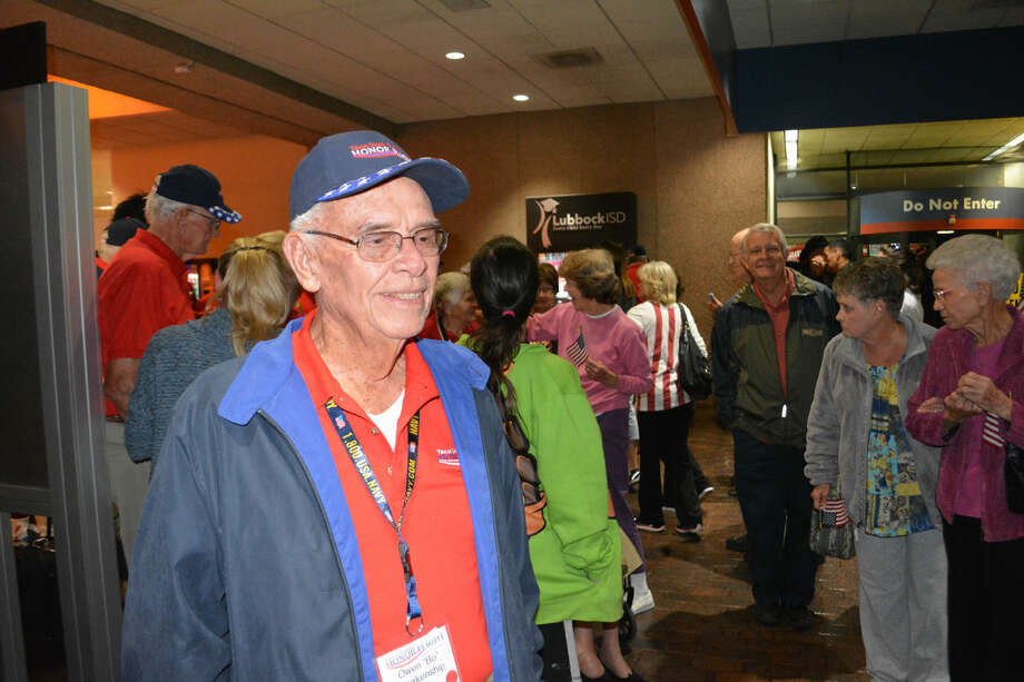 "O.C. ""Bo"" Blankenship upon arrival Friday night, Oct. 3, 2014, from the South Plains Honor Flight to Washington, D.C."
