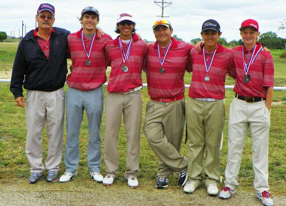 The Plainview golf team finished second at the Dumas Invitational in its final tournament of the fall season Friday and Saturday. Members of the team are (from left) Coach Mike Lewis, Ryan Edwards, Ryan Castillo, Troy Velasquez, Isaiah Garcia and Trey Gregory. Photo: Photo Courtesy Of Betsy Lewis