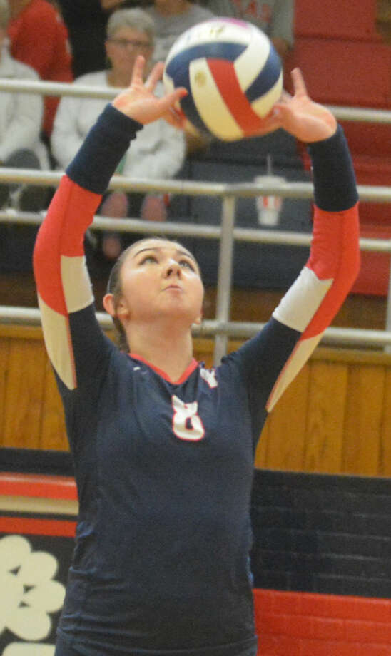 Plainview's Taryn Garza sets the ball to a hitter during a volleyball match earlier this season. The sophomore had another strong all-around match in a four-set victory over San Angelo Lake View Tuesday. She finished with six kills, 11 digs, 16 set assists, three block assists, one solo block and two service aces. Photo: Skip Leon/Plainview Herald