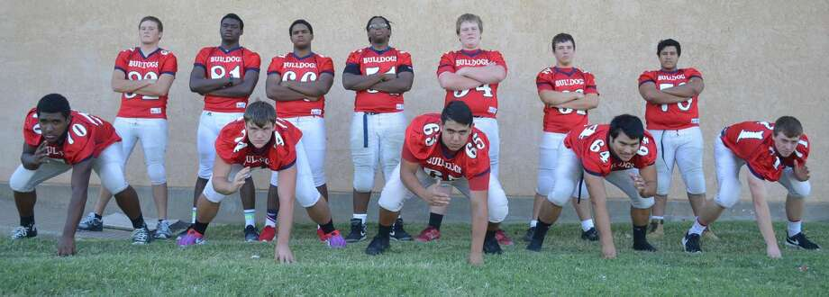 The line is the unit that flips the switch and provides the juice for the electric Plainview offense. The starters across the line are front row (from left) Crystin Baston, Beaux Bennett, Erik Mendez, Moises Garcia and Austin DeBerry. Others who contribute along the offensive front are back row (from left) tight end Zach Richards, tight end Khalid Riggins, Eric Wilson, Skyler Jennings, Trevor Townsend, Daniel Ratliff and Matthew Villarreal. Photo: Skip Leon/Plainview Herald