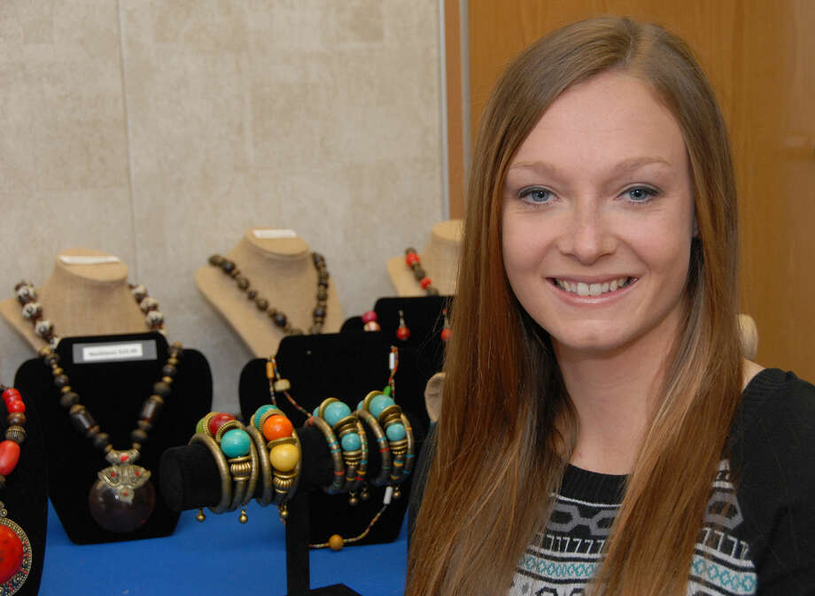 Wayland senior Jessica Echols is among Enactus students who helped set up the Kenya jewelry fundraiser at Wayland. The fundraising effort partners directly with small businesses in Kenya, benefitting not only Wayland students, but also the women working in jewelry making groups.