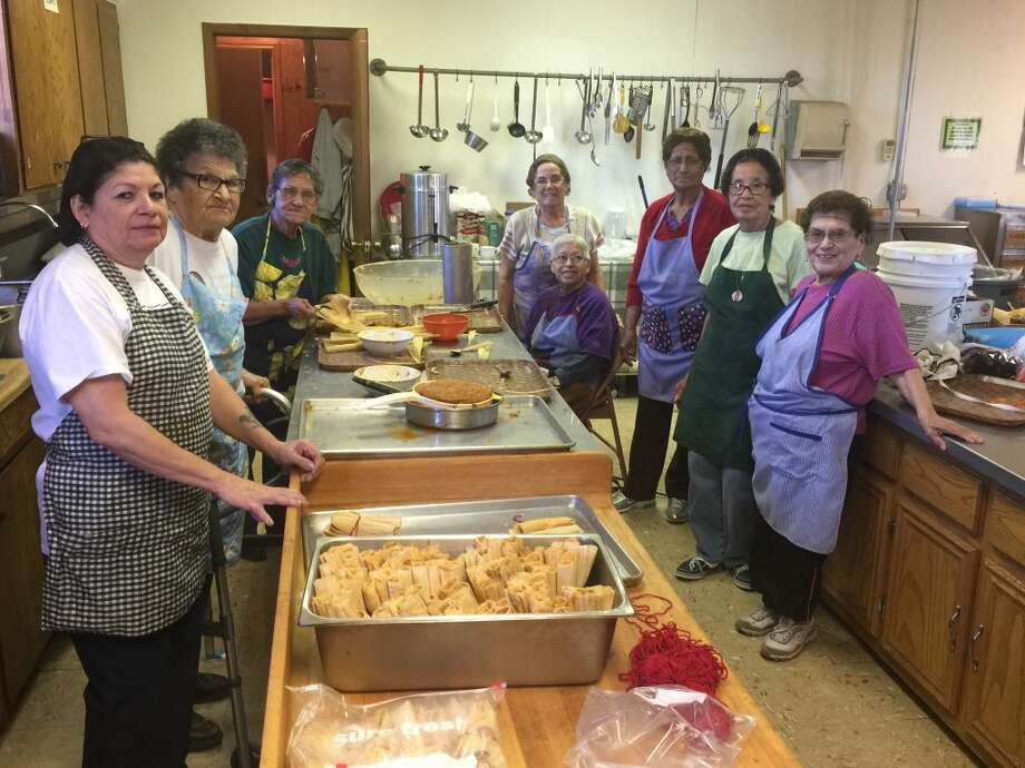 Preparing dozens of tamales to be cooked for a fundraiser on Friday were the Guadalupanas, a service group inside Plainview's Sacred Heart Church. Working Wednesday were members: Mary Hill (left), Berta Vera, Lena Huerta, (right) Odelia Rios, Bertha Perez, Eva Reyes, Janie Perez and Maria Padilla. Photo: Homer Marquez/Plainview Herald