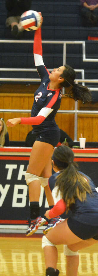 Plainview's Alondra Fraire hits the ball against Lubbock Coronado Tuesday night. The Lady Bulldogs will play a bi-district playoff match Tuesday night at Randall. Photo: Skip Leon/Plainview Herald