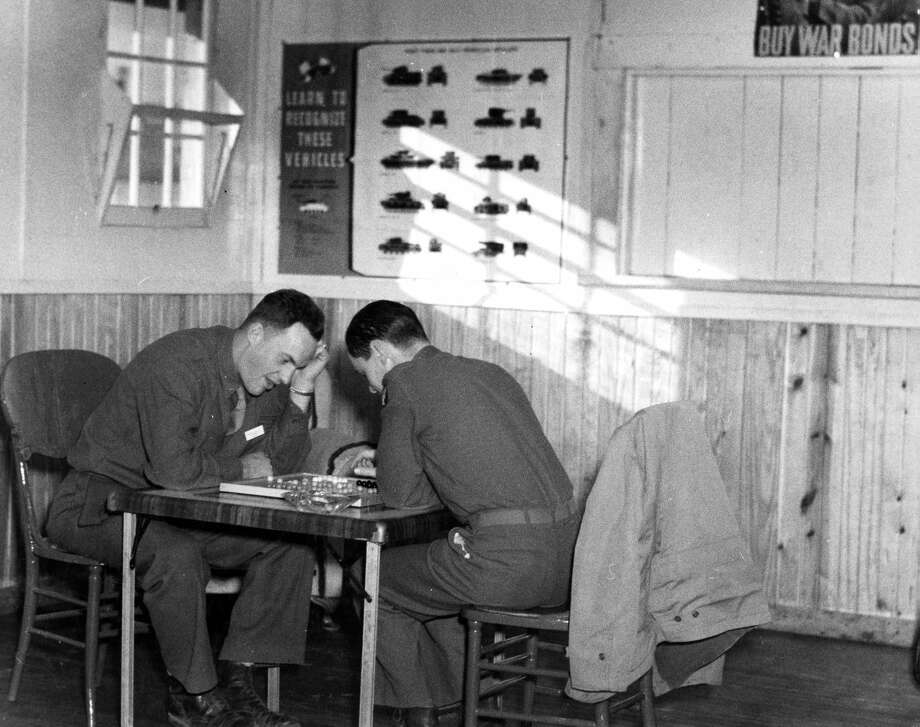 Serious Checkers Game Texas Tech University/Southwest Collections When not taking dead-stick training at Finney Field, air cadets had the option to pass their time with many recreational activities, including a game of Chinese checkers. Local and area residents strived to make the holiday season special for the military personnel who were far from home in late 1942.