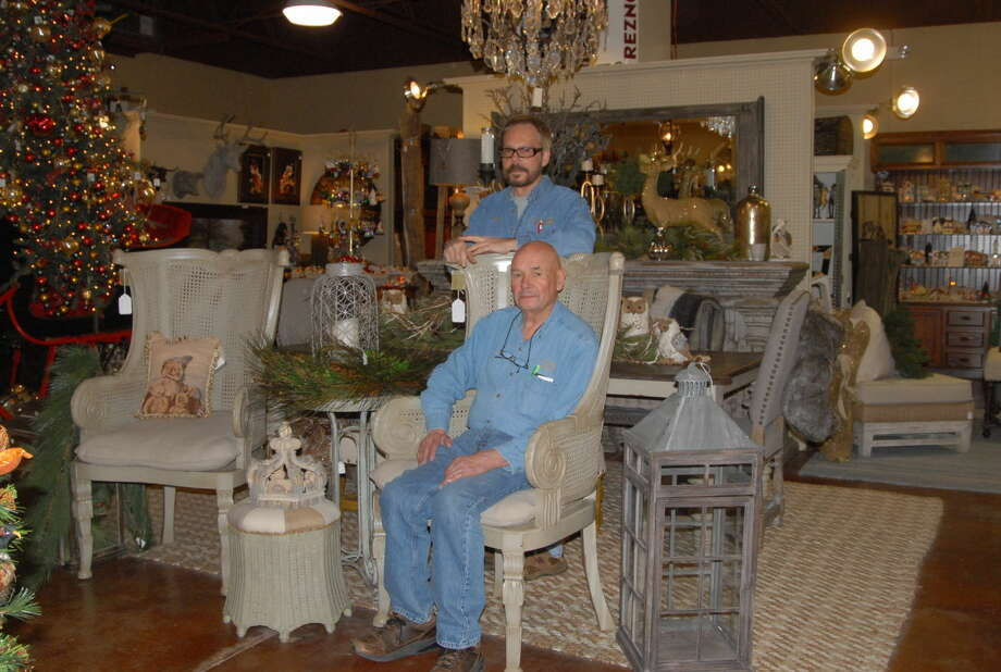 Seated Jack Oswald and co-founder of Old World Gifts and Décor Larry Hinds mark 40 years of business in November. The company plans to hold a commemorative party on Nov. 7-8. Photo: Homer Marquez/Plainview Herald