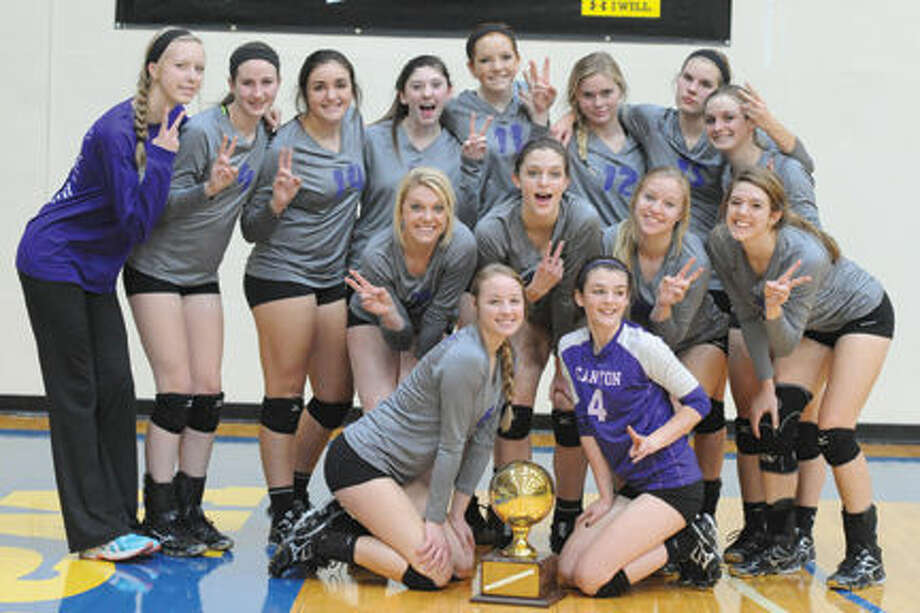 Canyon's Lady Eagles celebrate their bi-district win over Lubbock High Tuesday night. Photo by LISA HUGHES