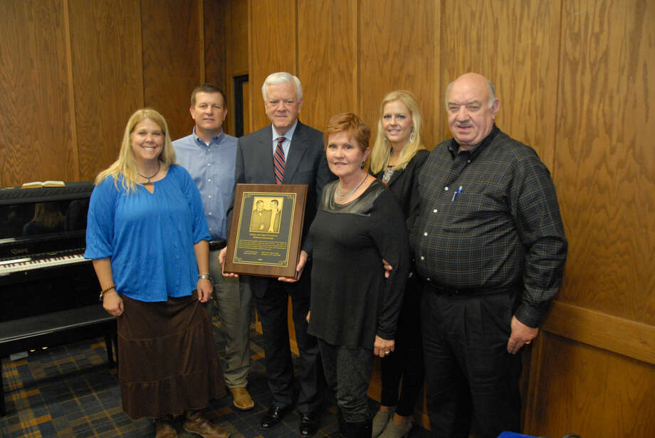 Jonathan Petty/Wayland Baptist UniversityMembers of the Crownover family were on hand for the dedication of the Johnny and Adam Crownover Endowed Scholarship. Joining Wayland President Dr. Paul Armes (third from left) are Stephanie and Justin Crownover, Rebecca Crownover and Kay Crownover Gillespie and her husband Ron.