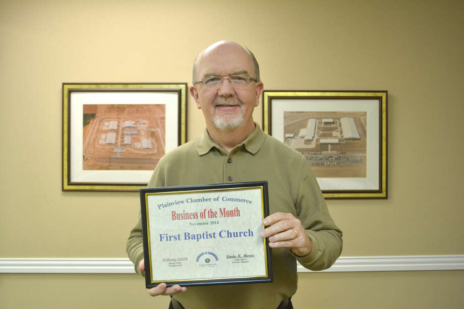 Chamber Business/Student of the MonthDoug McDonough/Plainview HeraldFirst Baptist Church Plainview, represented by its pastor Dr. Tim Marrow, was introduced Tuesday as the Chamber of Commerce Business of the Month. The congregation will celebrate its 125th anniversary in 2015. Marrow has served at FBC-Plainview since 2011, after 21 years with First Baptist Church in west Albuquerque. He has many close ties with Plainview and the area. His two sons and a daughter-in-law are Wayland Baptist University graduates and his father grew up in Levelland.