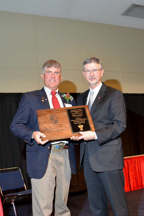 Courtesy PhotoPlainview area farmer Glenn Schur (left) receives Texas Tech's annual Gerald W. Thomas Outstanding Agriculturalist Award in Agricultural Production from Michael Galyean, dean of the College of Agricultural Sciences and Natural Resources.