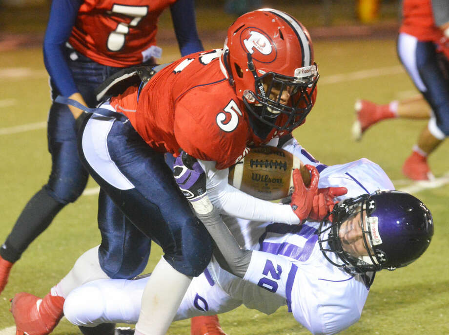 Plainview running back Warren Flye (5) was voted the Most Valuable Player in District 4-5A this season. In four district games, Flye ran for 1,112 yards and 11 touchdowns. Overall, he finished the season with nearly 2,200 yards rushing. Photo: Skip Leon/Plainview Herald