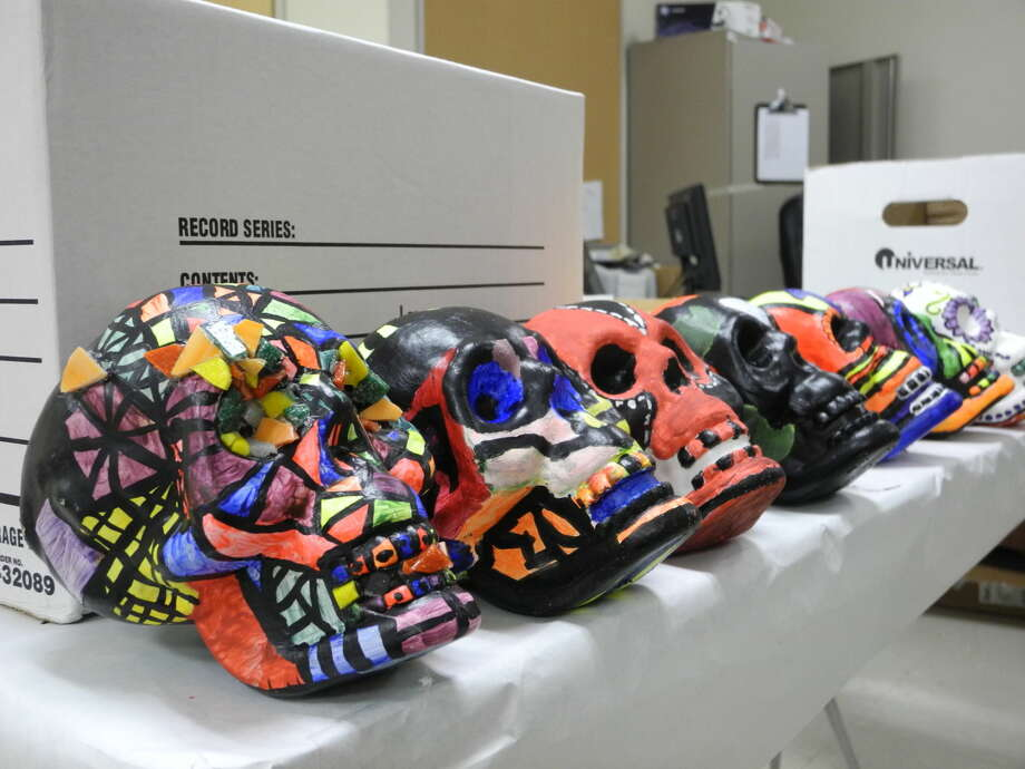 Houston High School students painted skulls while learning about the history of Dia de los Muertos in Elias Montemayor's art class. Photo: Gail M. Williams | Plainview Herald