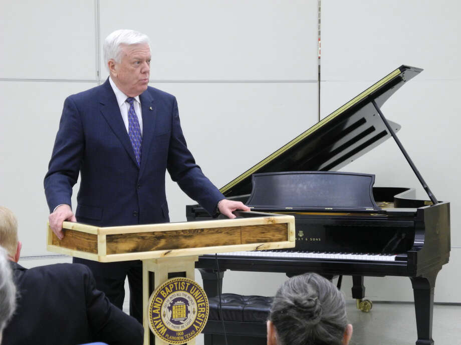 Dr. Paul Armes, Wayland Baptist University, speaks at the ceremony in which WBU was certified as an All-Steinway School. Photo: Gail M. Williams | Plainview Herald