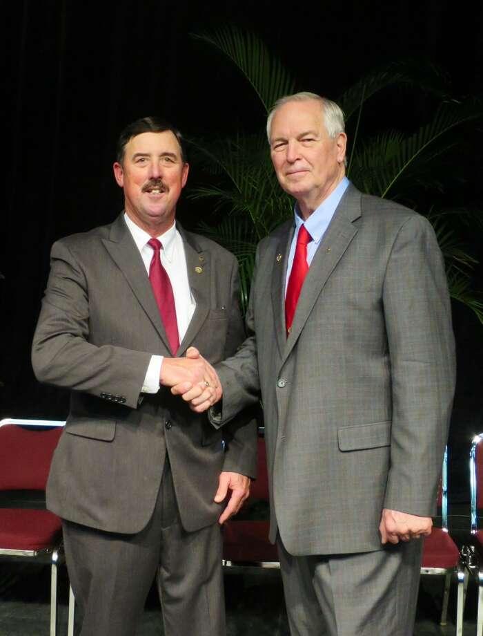 Texas Farm Bureau PhotoRussell Boening (left), South Texas dairyman, farmer and rancher, was elected Monday as 10th president of Texas Farm Bureau. Past President Kenneth Dierschke (right) congratulates him.