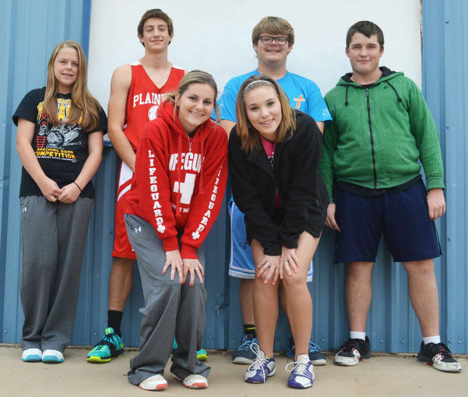 Six Plainview High School tennis players were named to the All-District 4-5A team for the fall season. They are front row (from left) Elizabeth Earhart and Dusti Boedeker. Back row (from left) Misty Bass, Grant Thomas, Wiley Hawkins and Geoffrey Bickel. Photo: Skip Leon/Plainview Herald