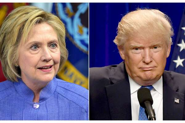 This combination of file photos shows Democratic presidential candidate Hillary Clinton(L)on June 15, 2016 and presumptive Republican presidential nominee Donald Trump on June 13, 2016