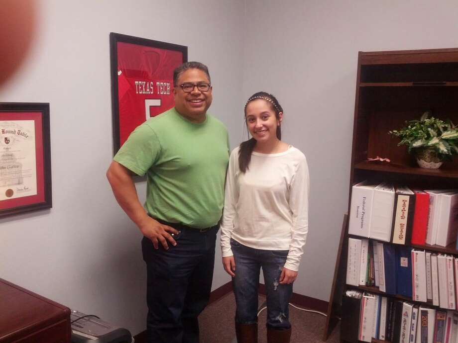 Plainview ISD Houston School Principal John Gatica and student Kiahna Marroquin reflect on community support of the campus. Photo: Homer Marquez/Plainview Herald