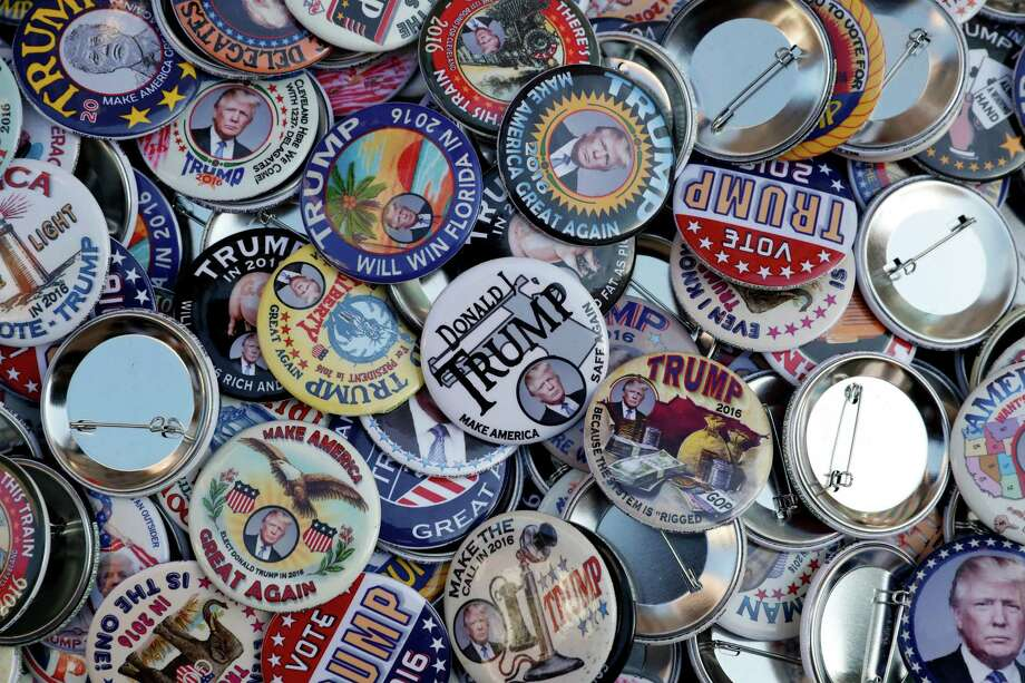 Buttons supporting Republican presidential candidate Donald Trump are on display, Wednesday, July 20, 2016, in Cleveland, during the third day of the Republican convention. Photo: John Minchillo, AP / AP