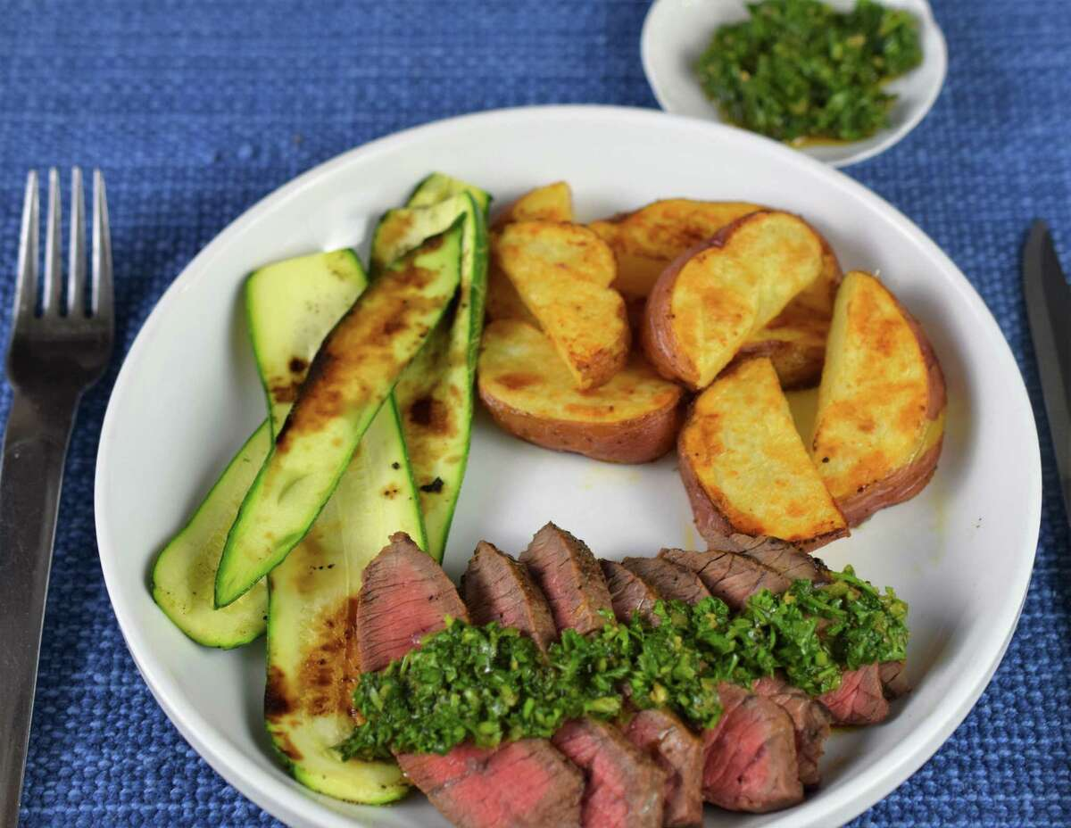 Sue Sheff's finished Steak with Moroccan Chermoula, Roasted Potatoes and Zucchini.