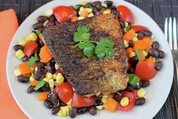 Sue Sheff's finished Pan Seared Salmon and Black Bean Salad.