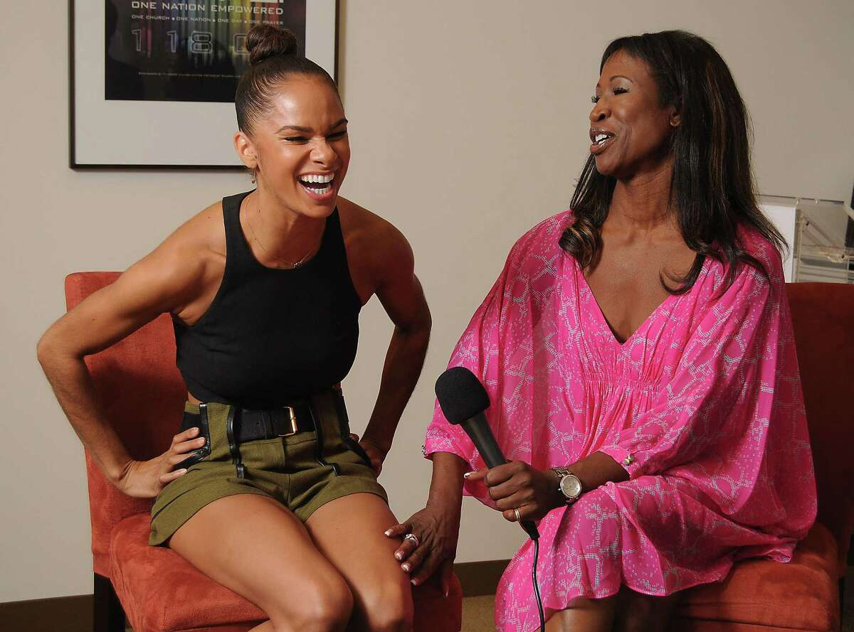 Misty Copeland, the first African American principal dancer for the American Ballet Theater,at left, talks with Houstonian Lauren Anderson, the first African American principal ballerina in the country ,before a panel discussion at the Kingdom Builders Center MondayJuly 27, 2015.(Dave Rossman photo)