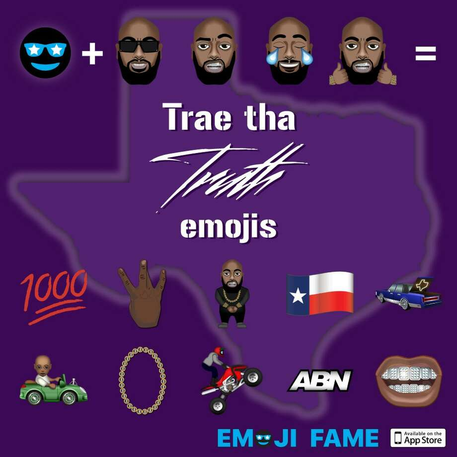 Houston rapper Trae Tha Truth is immortalized in a set of emojis that reflect him and Houston's hip-hop culture. Photo: Emoji Fame