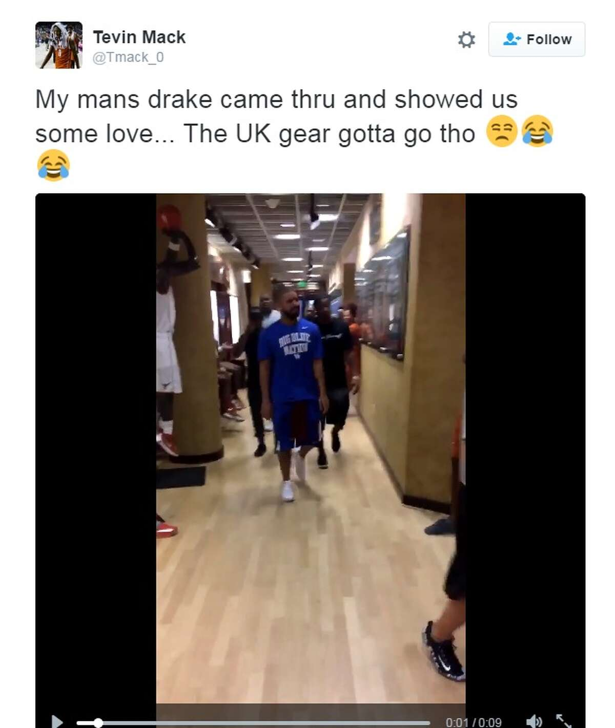 Tevin Mack, a UT basketball player, tweeted a video showing Drake in University of Kentucky gear, touring the Longhorn basketball facility on July 19, 2016.Keep clicking to see where to spot celebrities in Central Texas.