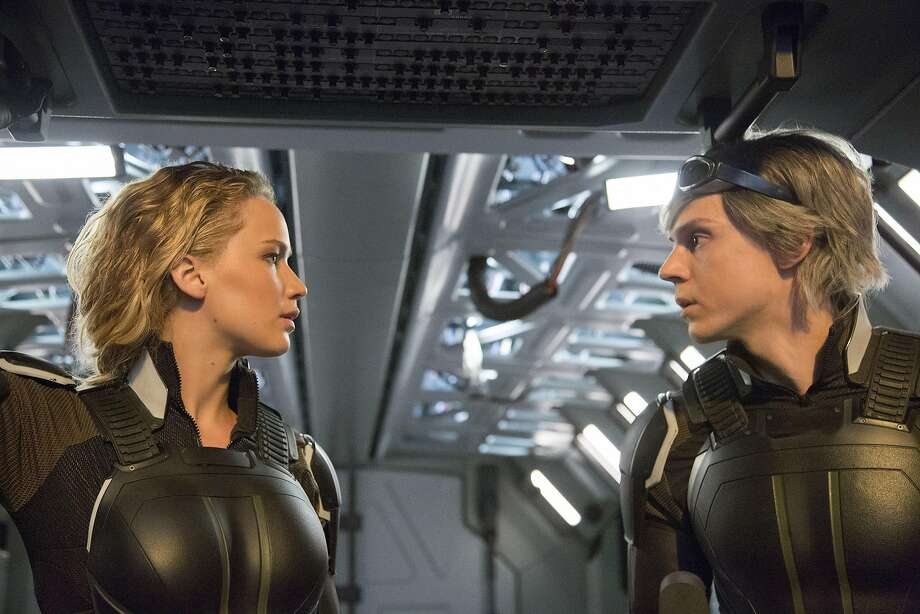 """Jennifer Lawrence (left) and Evan Peters in """"X-Men: Apocalypse,"""" a bad movie that nevertheless made half a billion dollars. Photo: Alan Markfield, Associated Press"""