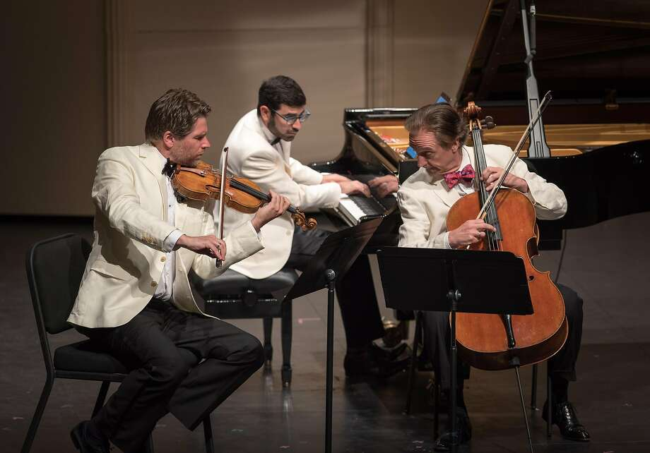 Violinist Nicolas Dautricourt, cellist David Finckel and pianist Michael Brown perform Shostakovich's Piano Trio No. 1. Photo: Carlin Ma