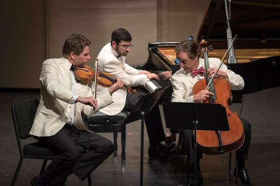 Violinist Nicolas Dautricourt, (l.), cellist�David Finckel and pianist�Michael Brown perform Shostakovich's Piano Trio No. 1, Music@Menlo 7/19/16