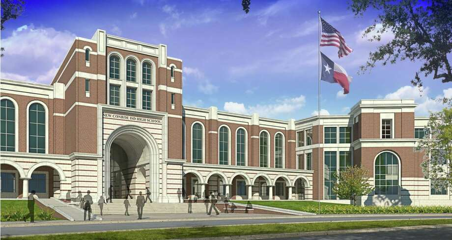 A rendering of the new Conroe ISD high school set to open near Grand Parkway and Birnham Woods Drive in 2018. The school district has invited suggestions for the school's name. Courtesy of Conroe ISD