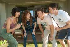 """In this image released by 20th Century Fox, from left, Aubrey Plaza, Anna Kendrick, Adam Devine and Zac Efron appear in a scene from the film, """"Mike and Dave Need Wedding Dates."""" (Gemma LaMana/20th Century Fox via AP)"""