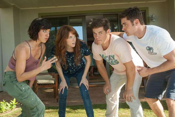 "In this image released by 20th Century Fox, from left, Aubrey Plaza, Anna Kendrick, Adam Devine and Zac Efron appear in a scene from the film, ""Mike and Dave Need Wedding Dates."" (Gemma LaMana/20th Century Fox via AP)"