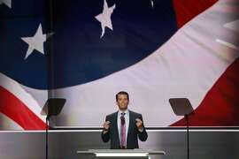 Donald Trump, Jr., speaks on day two of the Republican National Convention at the Quicken Loans Arena in Cleveland,  July 19, 2016. Trump Jr., the eldest son of the Republican presidential nominee, has accused former Trump campaign manager Corey Lewandowski of undermining his fatherÕs White House bid, revealing that reporters told him the former aide was planting stories in an effort to undercut his replacement. (Josh Haner/The New York Times)