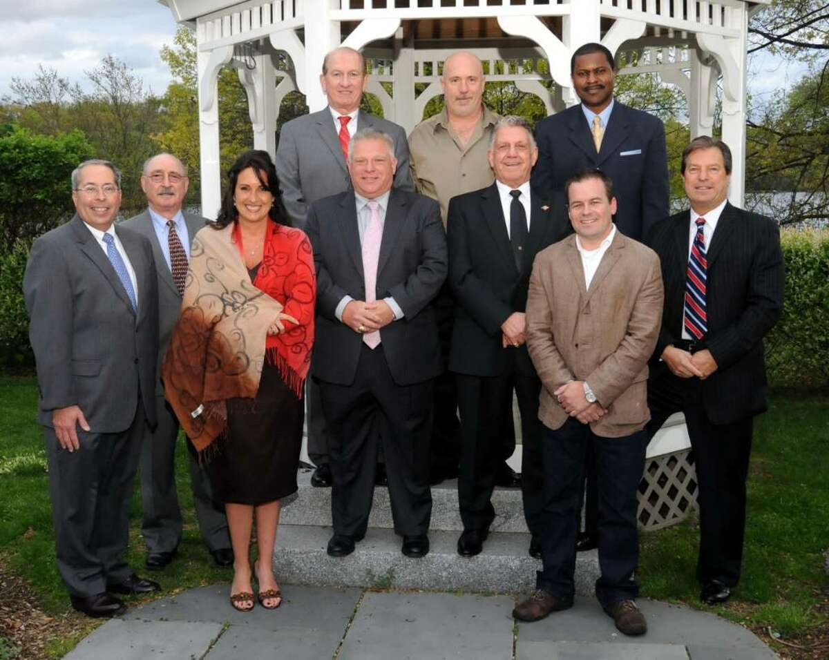 Danbury's Henry Abbott Technical High School held a dinner on Tuesday evening April 27, 2010 at Anthony's Lake Club, also in Danbury, for their First Hall of Fame inductees. Those inducted into the Hall of Fame for 2010 are bottom row from left, David Coelho of Danbury, Tulio Belardinelli of Bethel, Dawn Maestro Blom of Thomaston, Carmine Iapaluccio of Danbury, Anthony Rizzo of Danbury, Jerry Nadeau of Davidson, N.C., and Joseph Lahoud of Washington. Back row from left, Jack Garamella of Danbury accepting the award for his diceased father Daniel Garamella, Steven Meyer of Woodbury and Larry Harrison of Danbury.