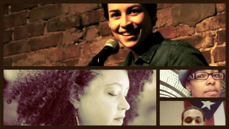 Latino Poets Denice Frohman (top), Yesenia Montilla (left), Raina León and Malcolm Friends.