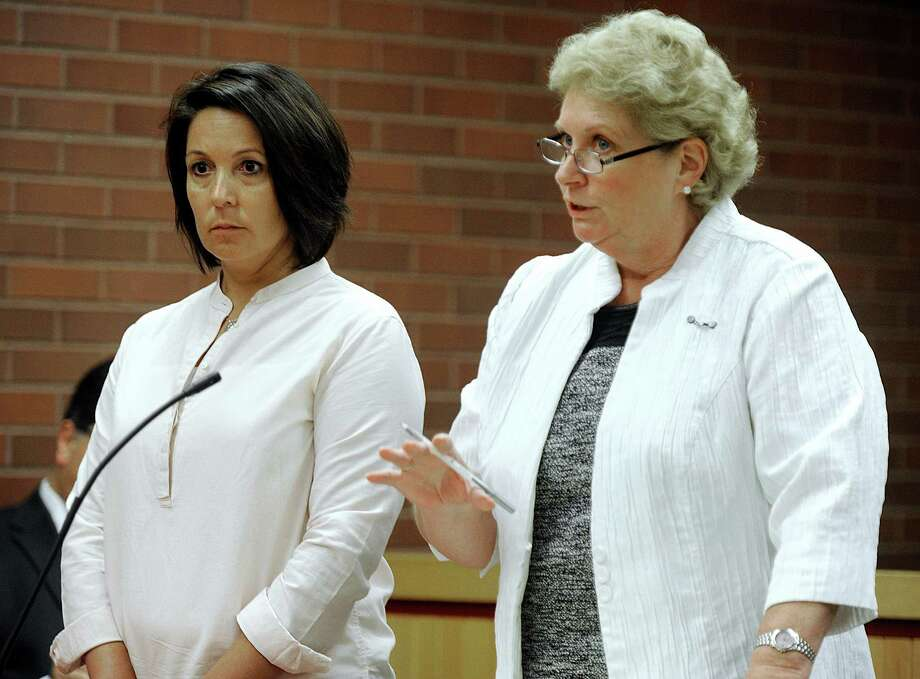 Elizabeth Kerekes, left, the former Brookfield School finance employee, represented by attorney Vicki Hutchinson, right, was granted a probationary program that could wipe out her charges of larceny and conspiracy, Wednesday, July 20, 2016. Photo: Carol Kaliff / Hearst Connecticut Media / The News-Times