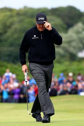 TROON, SCOTLAND - JULY 17:  Phil Mickelson of the United States celebrates his putt on the 12th during the final round on day four of the 145th Open Championship at Royal Troon on July 17, 2016 in Troon, Scotland.  (Photo by Matthew Lewis/Getty Images)