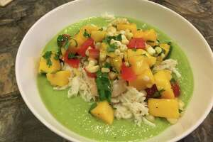 Chilled Cucumber and Avocado Soup with Mango Salsa and Butter-sauteed Crab and Shrimp