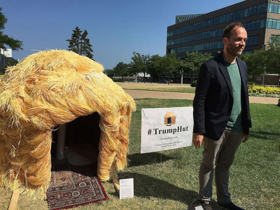 Protesters erected a hut made of straw shaped to look like the hair of Donald Trump not far from the Republican National Convention in Cleveland. Photo: Afp, Getty Images