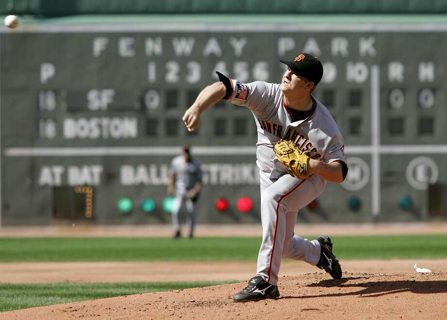 A 22-year-old Matt Cain pitches at Fenway Park in 2007. He returns Wednseday night after more than a month on the disabled list. Photo: Winslow Townson, AP